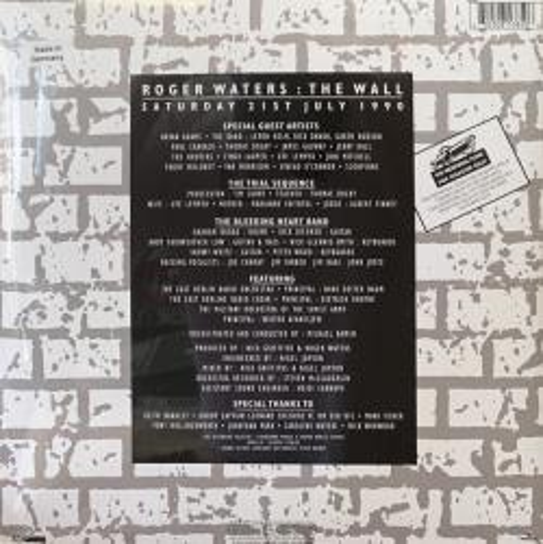 Виниловая пластинка Roger Waters — THE WALL - LIVE IN BERLIN (RSD LIM.ED.,CLEAR VINYL) (2LP)