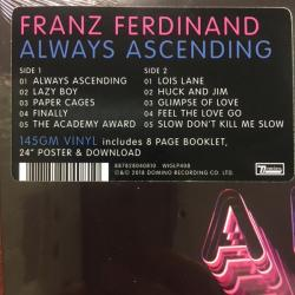 Виниловая пластинка Franz Ferdinand — ALWAYS ASCENDING (LP)