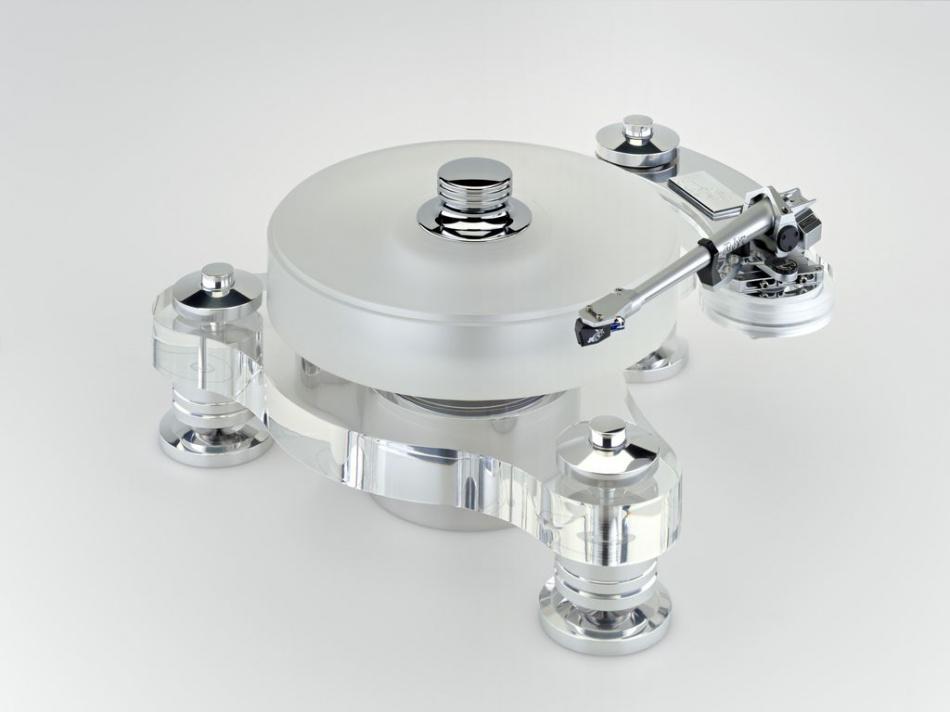 Стол винилового проигрывателя Transrotor RONDINO BIANCO FMD с подготовкой под тонарм 9-12 дюймов, Блоком питания Konstant FMD и прижимным диском