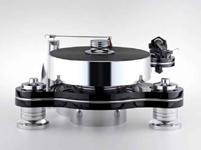 Стол винилового проигрывателя Transrotor RONDINO NERO FMD с подготовкой под тонарм 9 - 12 дюймов, Блоком питания Konstant FMD и алюминиевым прижимным диском
