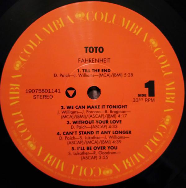 Виниловая пластинка Toto — FAHRENHEIT (Black Vinyl)